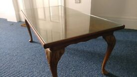 Vintage Walnut and Glass Coffee Table