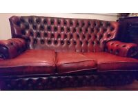 Beautiful real leather chesterfield suite - 3 seater sofa, 2 single armchairs and a footstool