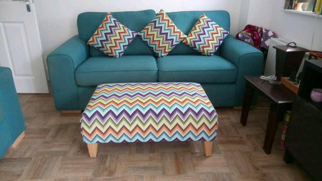 Awesome Sofa Set Teal Colour Armchair Tub Chair Footstool Cushions In Rothley Leicestershire Gumtree Inzonedesignstudio Interior Chair Design Inzonedesignstudiocom