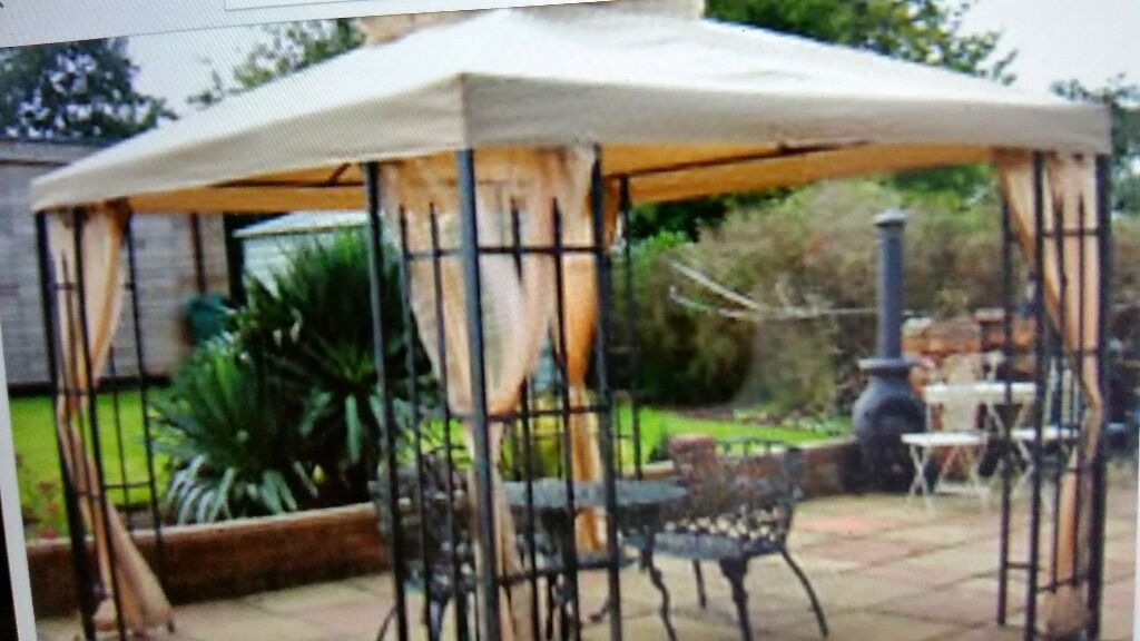 Buckingham Metal Frame Luxury Gazebo In Cafe Brown 3x3m Inc Mosquito Net Side Curtains In