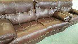 Brown real leather electric reclining 2+1 seater sofas