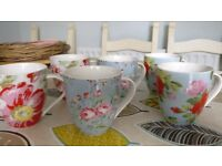 Cath Kidston 6 Assorted large floral mugs