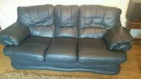 Blue leather settee and 2 chairs