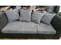 Sofa for sale 3 sitter and 2 sitter available now in our store in white chapel . the colour is grey.
