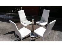 GLASS DINING TABLE AND 4 WHITE FAUX LEATHER CHAIRS FREE LOCAL DELIVERY
