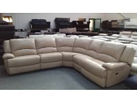 Ex-display Ronson pebble leather electric recliner corner sofa