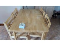 Table and four chairs good condition