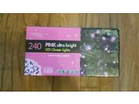 Pink 240 Christmas tree chaser lights 8 function controller led indoor outdoor