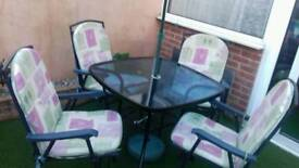 Table,chairs and parasol