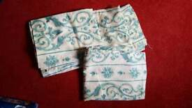 """Turquoise scroll detail curtains 53"""" drop 42"""" wide"""
