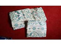 "Turquoise scroll detail curtains 53"" drop 42"" wide"