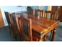 Indian Sheesham rosewood dining table and 6 Jali chairs including 2 matching units