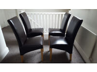 4 x Faux Leather Dining Chairs (dark brown with oak legs) - Like New
