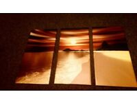 """3 panels modern canvas picture wall art H 32"""", on wooden frames"""