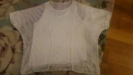 2 piece ladies white mesh and vest top size 18