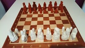 Hand made and hand painted chess men