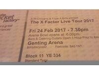 2x X Factor Live Tour tickets Birmingham genting Arena