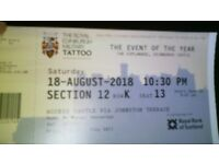 royal edinburgh military tatoo ticket for saturday 18 agost 10:30 pm setion 12