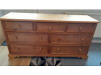 Solid pine 7 drawer unit all drawers are dovetail jointed