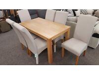 Solid Oak Dining Table & 6 Rio Grey Fabric Dining Chairs