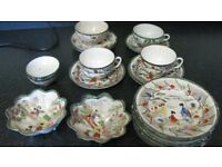 Japanese china plates, bowl, cups and saucers crockery