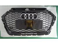 Audi RS3 Style Front Grill Black Quattro A3/S3 to RS3 Look 8V 2016 +