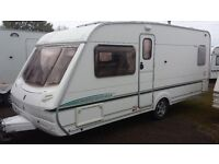 FIXED BED CARAVAN. LOVELY 2004 ABBEY AVENTURA CRIS REGISTERED. AWNING & EVERYTHING NEEDED FOR HOLS.
