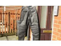 black leather motor cyle trousers