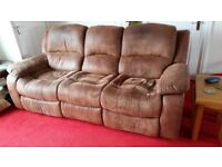 Sofas for sale - Brown faux suede 2 seater and 3 seater recliners, very good condition