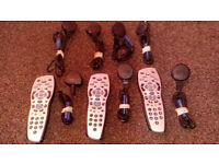 original skyhd remotes x3 & sky power leads x8