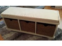 WHITE STORAGE BENCH WITH 3 WICKER BASKETS, CUSHION SEAT, NEUTRAL, HALLWAY