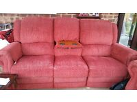 Red 3 seater sofa and 2 chairs all recliner