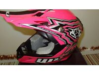 wulfsport motocross motox quad youth junior kids helmet in pink size large