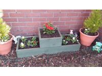 ***NEW 1-2-1 GARDEN FLOWER PLANTERS*** 3 Cell, treated wood, Quality handmade!!! Podium planters