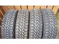 Full set of Goodyear Wrangler 235 x 85 x 16 Jeep/Landrover Tyres.