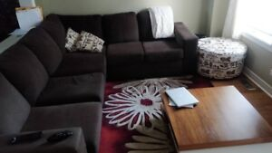Dark Brown Sectional for sale with ottomon
