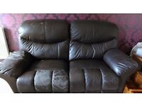 2 Brown faux leather 2 seater recliners