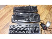 Three Black keyboards with their individual mouse. All three for £2.00 ONO
