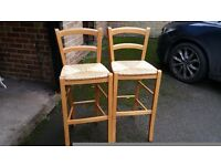 2 x kitchen bar stools with rush seating