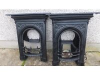 original pair of antique cast iron fireplaces