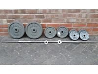 CAST IRON WEIGHTS BARBELL SET