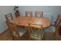 Pine Extending Dining Table & 6 Chairs