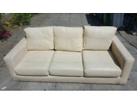 3 Seater Cream Leather Sofas X2 70.00 For Both Very Comfortable Bargain Price