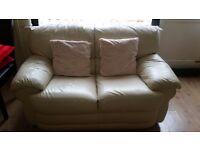2 seat cream leather sofa