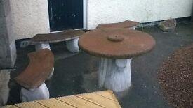 concrete patio set