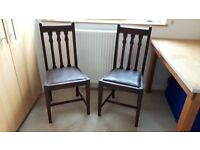 Two original solid wood chairs