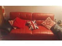 dfs red and black leather sofa