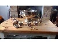 PUNCH BOWL WITH 6 CUPS AND LADLE