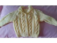 For sale lemon jacket newly knitted size about 18 in £4 50