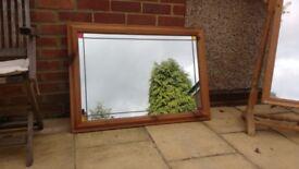 Large pine wall mirror